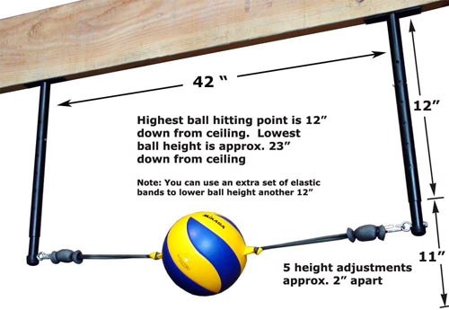 Volleyball Spike Trainer VST-500 for use in garages and basements. Perfect your Volleyball hitting technique using the most cost-effective and durable Volleyball Spike Trainer on the market. Work on your Volleyball footwork, Volleyball Approach, Jump Technique, Volleyball Arm Swing, and Volleyball Contact.